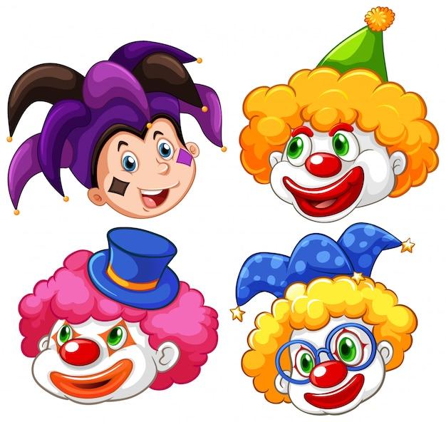 Vier hoofden van grappige clown op witte achtergrond