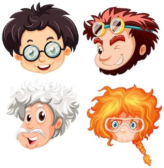 Vier hoofden van mensen met een bril