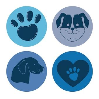 Vier huisdiervriendelijke pictogrammen