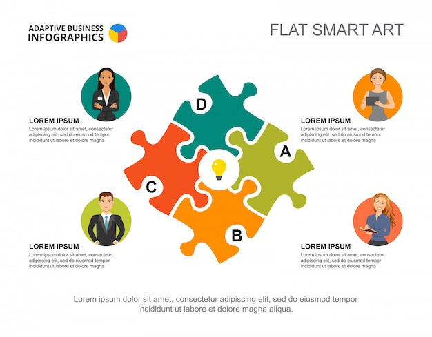 Vier ideeën verwerken grafieksjabloon voor presentatie