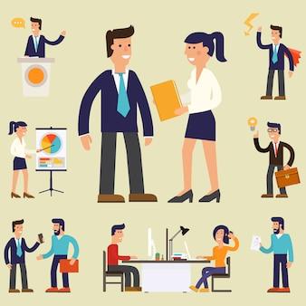 Vier illustraties van stripfiguur succesvolle zakenman