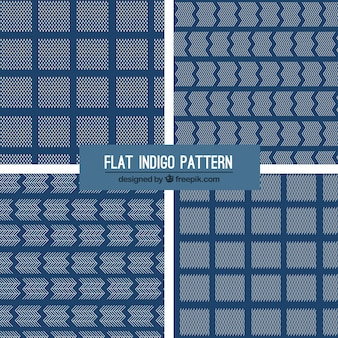 Vier indigo patronen, vlakke stijl