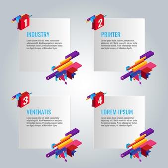 Vier infographic papieren met geschreven tekstinformatie en titels in de buurt van enkele kleurrijke constructies met zakelijke ideeën vectorposter