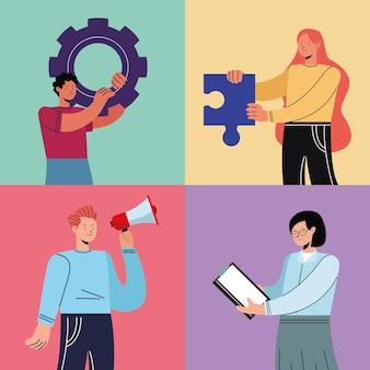 Vier innovatieve personen karakters