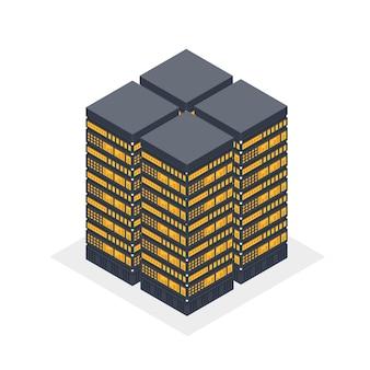 Vier isometrische server, gegevenscluster, serverrek