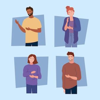 Vier jonge personen karakters