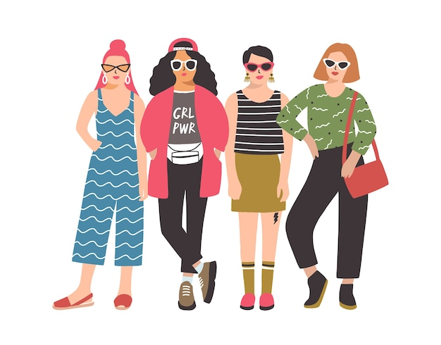 Vier jonge vrouwen of meisjes die modieuze kleding dragen die zich verenigen.