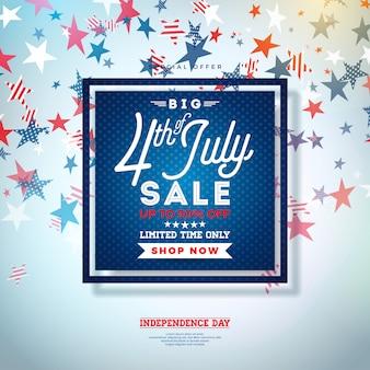 Vier juli. independence day of usa sale banner design