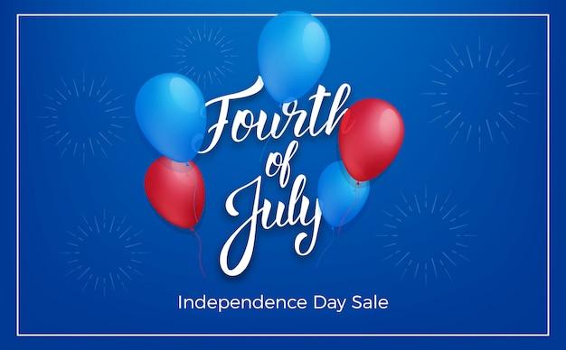 Vier juli usa independence day. vakantie banner met glanzende ballonnen en belettering.