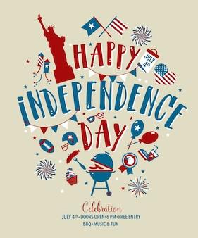 Vier juli, verenigde staten dag van de onafhankelijkheid groet. 4 juli typografisch