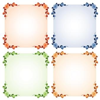Vier kadersjablonen met kleurrijke bloemen