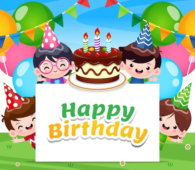 Vier kinderen gelukkige verjaardag met taart en banner