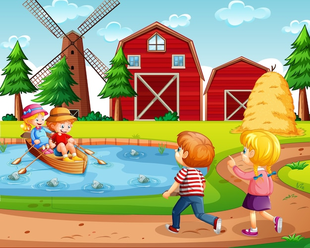 Vier kinderen in de boerderij met rode schuur en windmolenscène