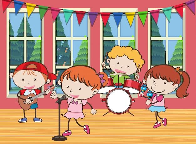 Vier kinderen spelen muziek in de band