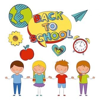 Vier kinderen terug naar school met enkele illustratie van schoolelementen