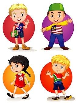 Vier kinderen uit verschillende landen