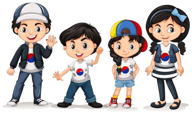 Vier kinderen uit zuid-korea
