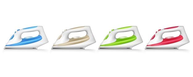 Vier kleuren ijzer strijken geïsoleerde en realistische set met blauwe, beige, groene en rode kleuren illustratie