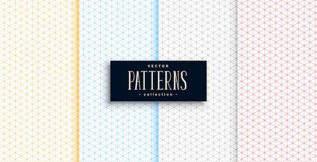 Vier kleuren kleine driehoek vormen patronen set