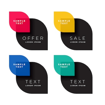 Vier kleuren verkoop banner set