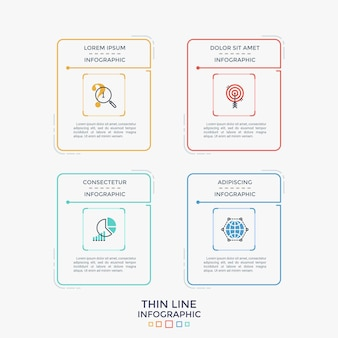 Vier kleurrijke afzonderlijke rechthoekige elementen of kaarten met lineaire pictogrammen en plaats voor kop en tekst erin. eenvoudige infographic ontwerpsjabloon. vectorillustratie voor website-interface.