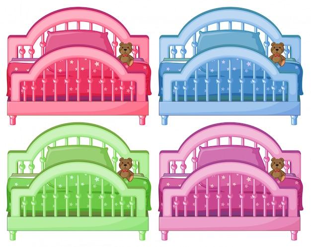 Vier kleurrijke bedden