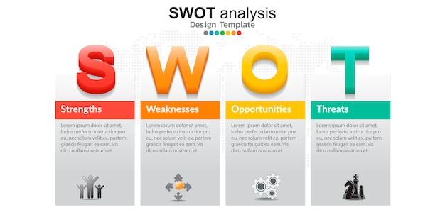 Vier kleurrijke elementen met pictogrammen voor swot-analyse