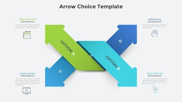 Vier kleurrijke met elkaar verweven papieren pijlen die in verschillende richtingen wijzen. infographic ontwerpsjabloon. vectorillustratie voor strategisch bedrijfsplan of visualisatie van ontwikkelingsopties voor opstarten.