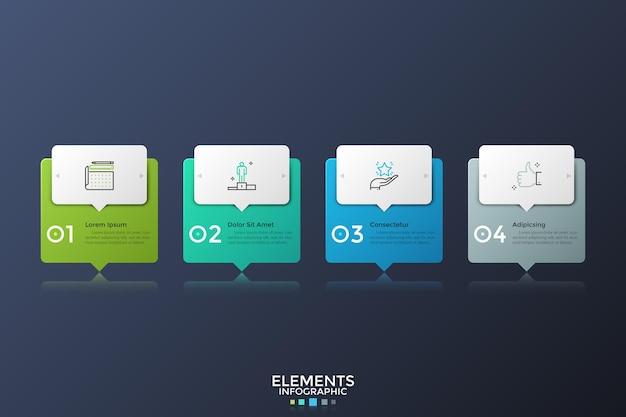 Vier kleurrijke rechthoeken met wijzers of tekstballonnen in horizontale rij geplaatst. infographic ontwerp lay-out. concept van 4 opeenvolgende stappen van bedrijfsproces. vectorillustratie voor presentatie.