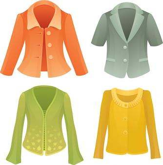 Vier kleurrijke vector jassen
