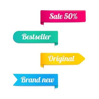 Vier kleurrijke vectorlinten of banners voor een winkel in magenta geel cyaan en blauw met de tekst