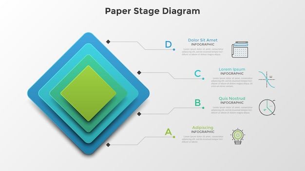 Vier kleurrijke vierkante elementen of lagen boven elkaar geplaatst. papier fase diagram. schone infographic ontwerpsjabloon. creatieve vectorillustratie voor 4-staps hiërarchische structuurvisualisatie.