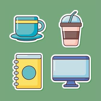 Vier koffie items