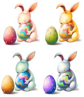 Vier konijnen met paaseieren