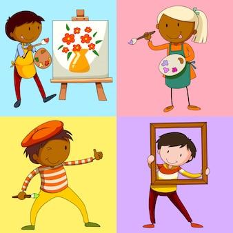 Vier kunstenaars die een schilderij schilderen
