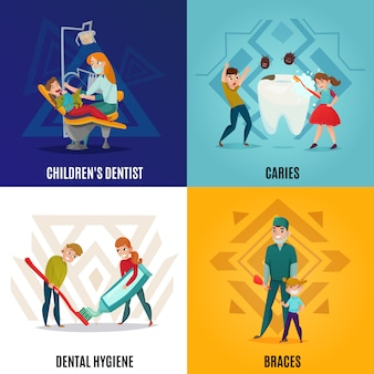 Vier kwadraten pediatrische tandheelkunde concept set met kinderen tandarts cariës tandhygiëne en accolades beschrijvingen