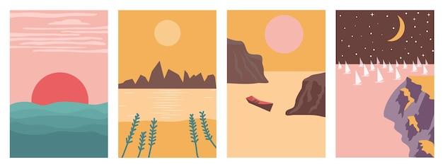 Vier landschapsposters in boho-minimalistische stijl
