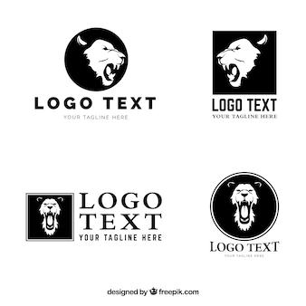 Vier leeuwen logo, verschillende composities
