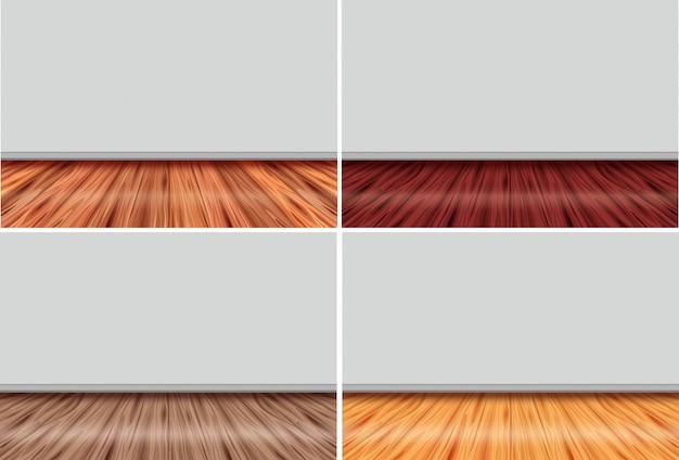Vier lege kamers met houten vloer