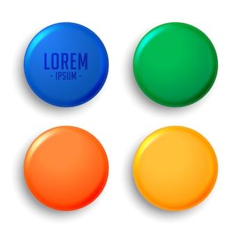Vier lege magneet badges instellen