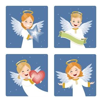 Vier leuke en gelukkige engelen die op een donkere hemel met sterrenachtergrond worden geplaatst.