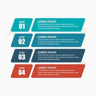 Vier lijst infographic bedrijfsstrategie met pictogrammen