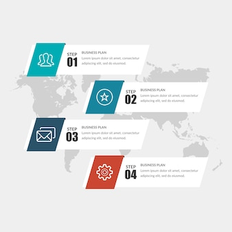 Vier lijst infographic element bedrijfsstrategie met pictogrammen