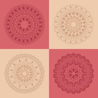 Vier mandala's decoraties