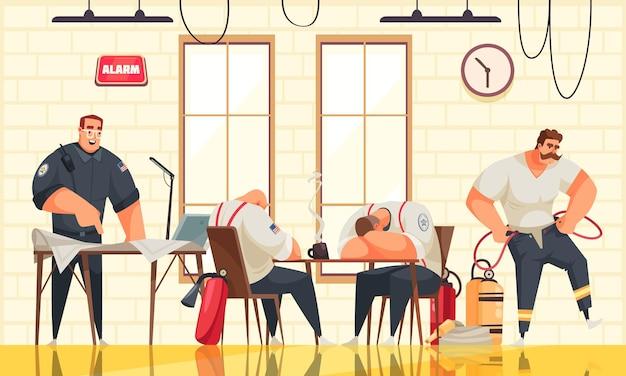 Vier mannelijke brandweerlieden die rusten bij de cartoonillustratie van de brandweerkazerne
