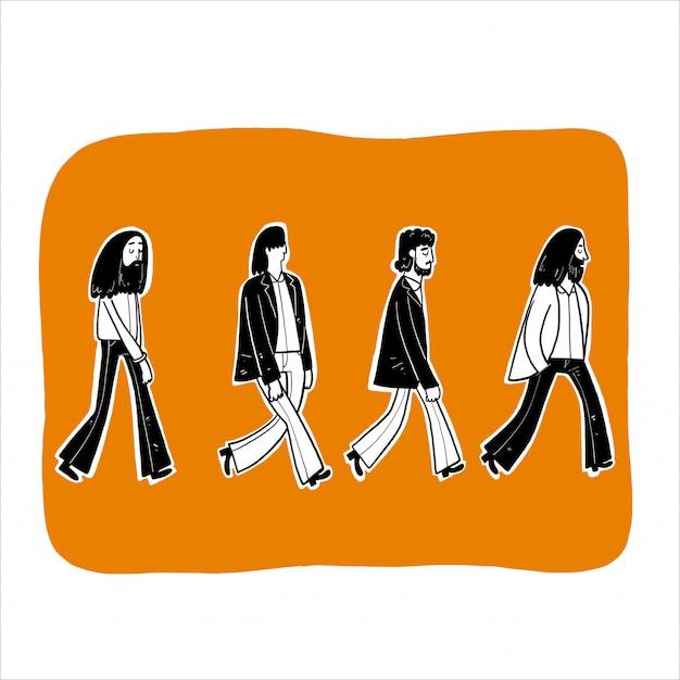 Vier mannen lopen in de rij.