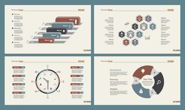 Vier marketing slide templates set