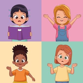 Vier meisjeskarakters