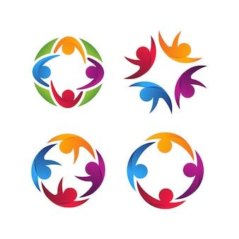 Vier menselijke eenheid kleurrijke logo vector sjabloon