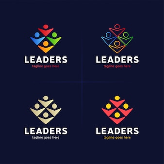 Vier menselijke groep met leider of baas pictogram logo element.